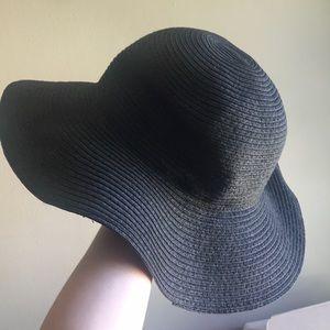 Black straw hat raffia summer boho bohemian